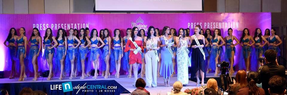 Bb. Pilipinas 2018 candidates with the reigning queens. From left to right: Bb. Pilipinas Globe 2017 Nelda Ibe, Binibining Pilipinas International 2017 Mariel de Leon, Miss Universe Philippines 2017 Rachel Peters, Binibining Pilipinas Grand International 2017 Elizabeth Clenci and Binibining Pilipinas Supranational 2017 Chanel Olive Thomas